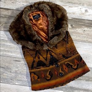 Montana Co Textile Vest Fur Trim West Southwest